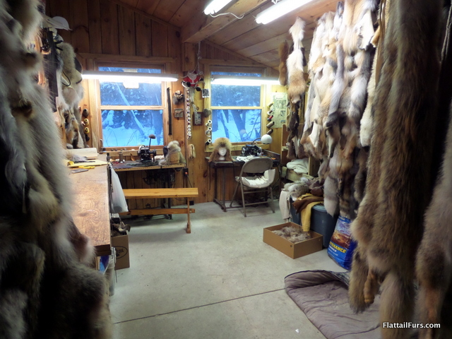 The Fur Room where Mark works and stores his materials.